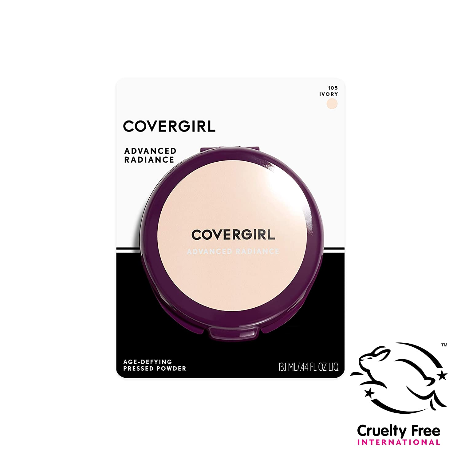 COVERGIRL Advanced Radiance Age-Defying Pressed Powder, 1 Container (.39 oz) Ivory Tone, Creamy Facial Powder, Sensitive Skin Safe (packaging may vary)