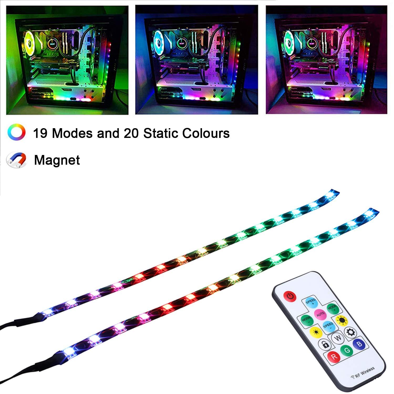 LEDdess Full Kit RGB LED Strip Computer Lighting via Magnet for Desktop Computer Case Mid Tower Full Tower (5050 SMD 2pcs 15leds 30cm, Rainbow Fan kit Extension, A Series)