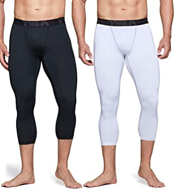 TSLA Men's (Pack of 1, 2) Compression 3/4 Capri Pants Baselayer Cool Dry Sports Running Yoga Tights
