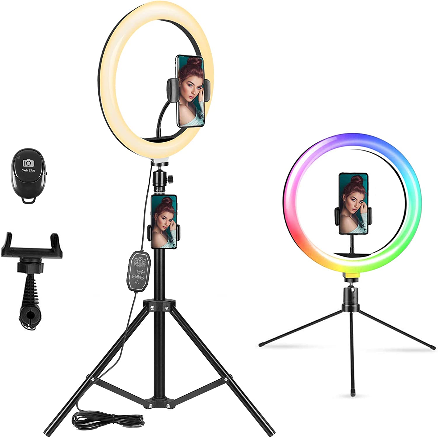 "10.2"" RGB Selfie Ring Light, LED Ring Light with Tripod Stand & Phone Holder"