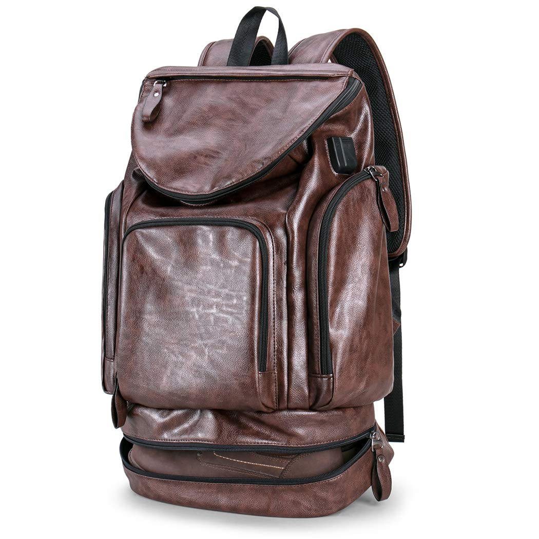 Men s Backpack with USB Laptop Backpack with Shoe Leather Casual Daypack brown