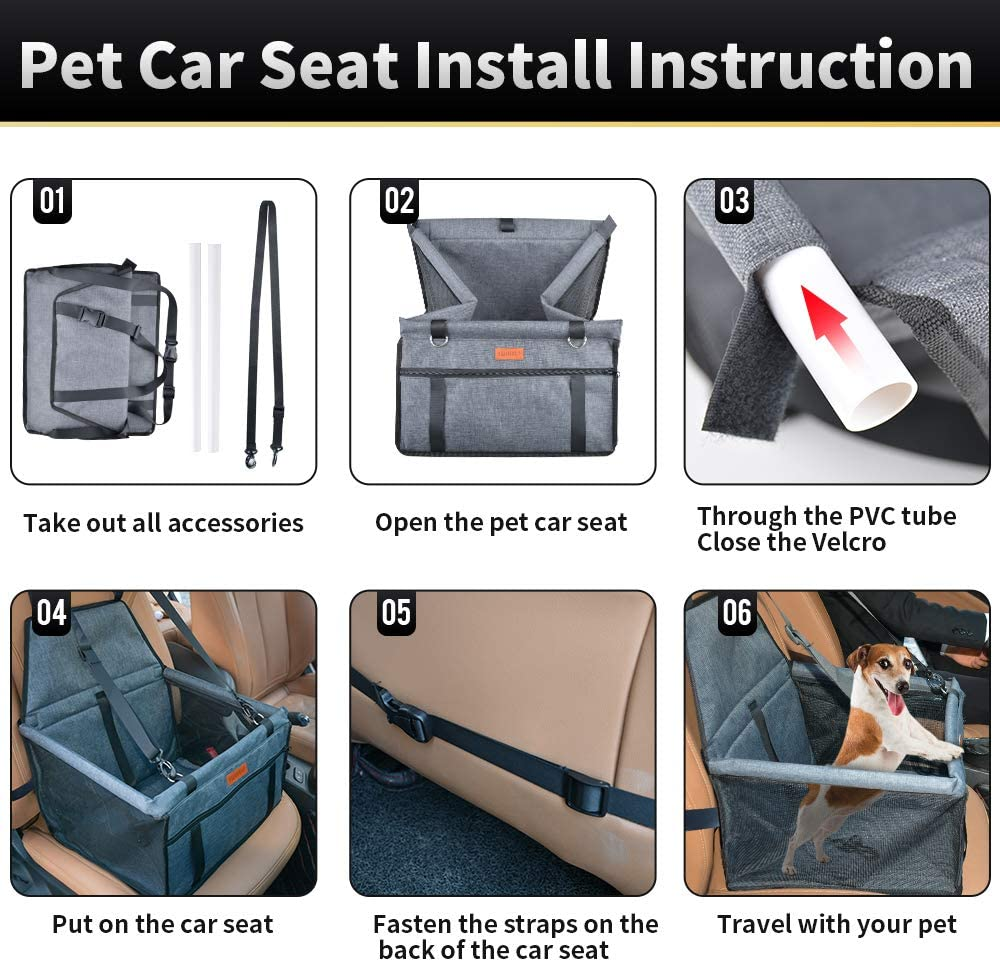 SWIHELP Dog Car Seat Upgrade Portable Pet Booster Car Seat with Clip-On Safety Leash and PVC Support Pipe, Anti-Collapse, Perfect for Small Pets : Pet Supplies