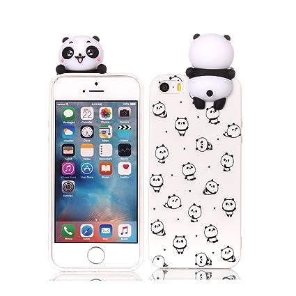 17ca89960ba HopMore Funda iPhone 5S / SE / 5 Silicona Motivo 3D Divertidas (Panda  Unicornio)