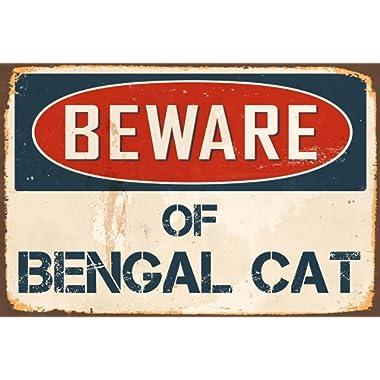 """StickerPirate Beware of Bengal Cat 8"""" x 12"""" Vintage Aluminum Retro Metal Sign VS463"""