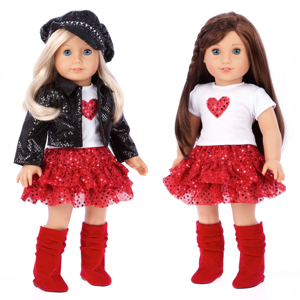 DWC-1235 Red Skirt /& Boots 5 Piece Outfit DreamWorld Collections Motorcycle Faux Leather Jacket with Paperboy Hat Chic and Sassy Clothes Fits 18 American Girl Doll Doll Not Included White T-shirt