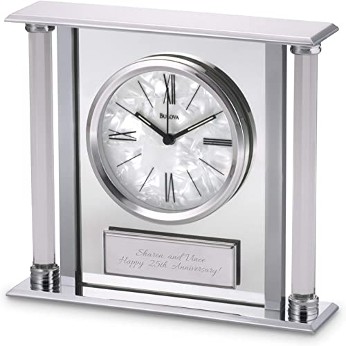 Things Remembered Personalized Bulova Pearlized Dial Clock with Engraving Included