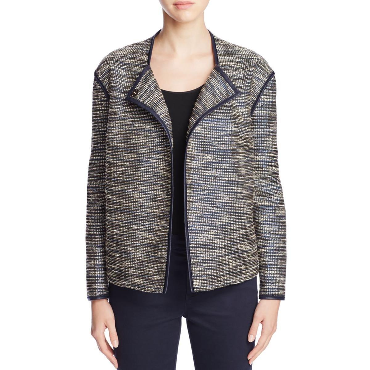 Lafayette 148 Womens Dane Textured Metallic Jacket XL