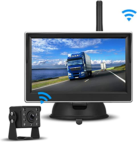 Digital Wireless Backup Camera High-Speed Observation System for RVs,Cars,Trailers,Trucks,5th Wheel with 5 HD Monitor Rear Side Front View Continous Reversing Use Guide Lines ON Off IP69K Waterproof