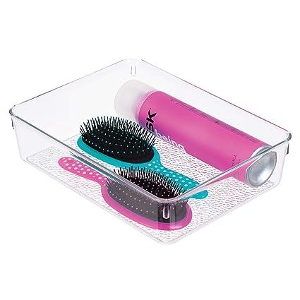 InterDesign Rain Caja de almacenaje para cosméticos y maquillaje, gran separador de cajones en plástico