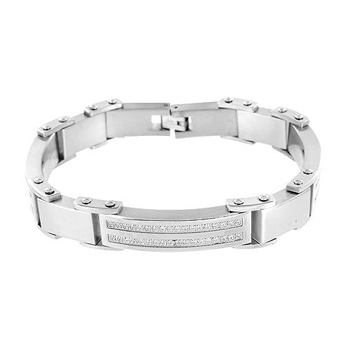 gran surtido el precio más baratas moda más deseable Para hombre pulsera de oro blanco sólido acero inoxidable ...
