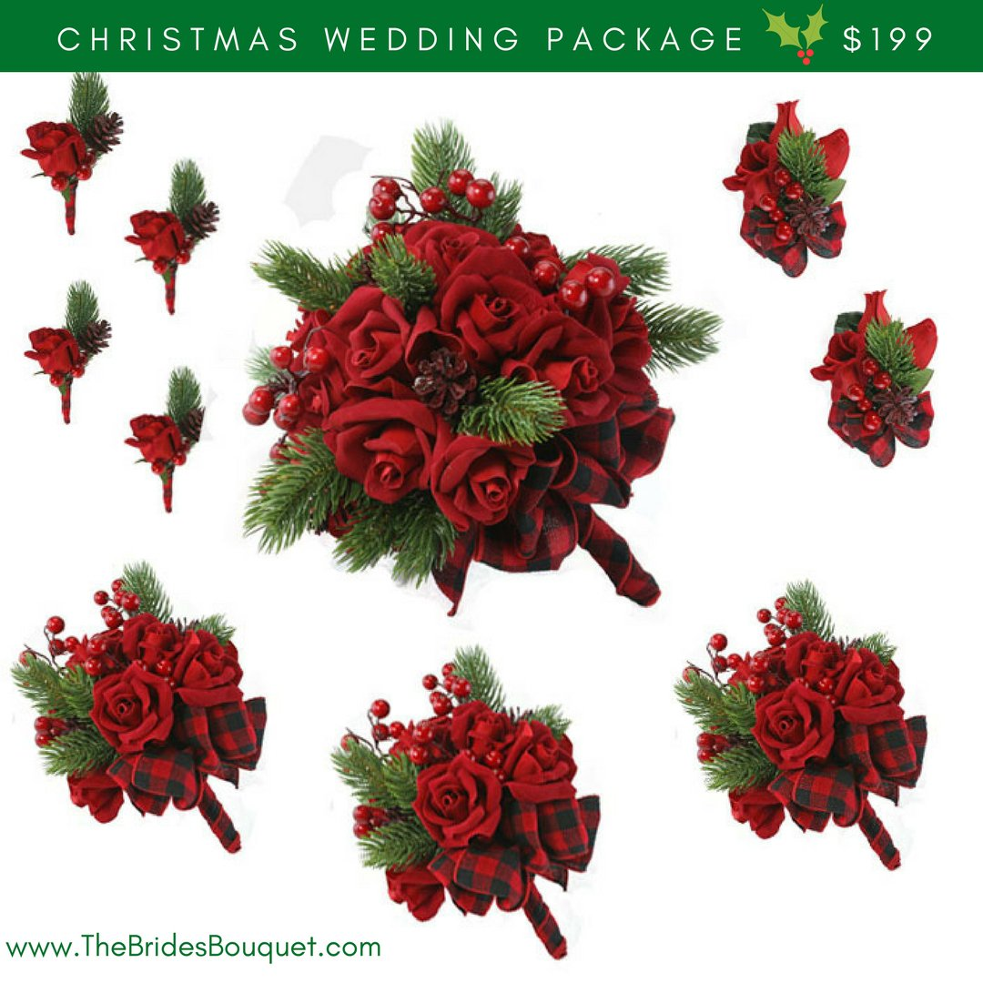 Amazon 10 Pc Christmas Wedding Package Silk Flowers Bridal