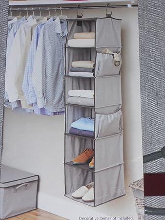 Better Homes And Gardens Gray 6 Shelf Closet Organizer With 4 Side Pockets