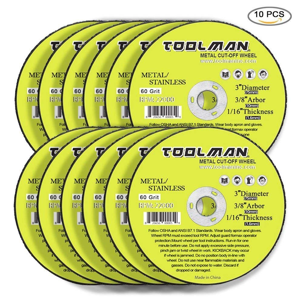 Toolman Premium Cut Off Cutting Wheel Universal fit 10pc Set for metal and stainless steel works with DeWalt Makita Ryobi