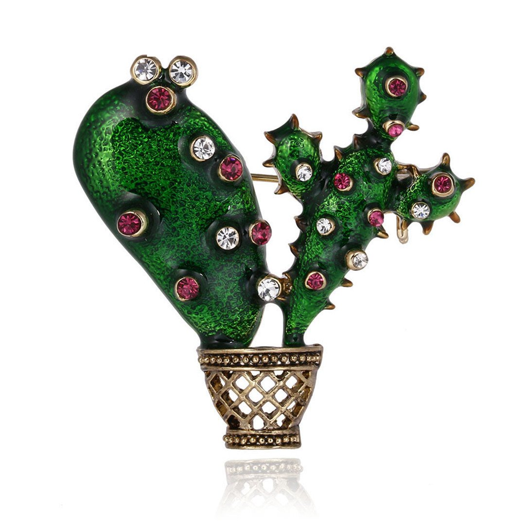 Xiongzhen Green Enamel Cactus Brooch Kids Lady Crystal Plant Corsage Suit Scarf Dress Decoration