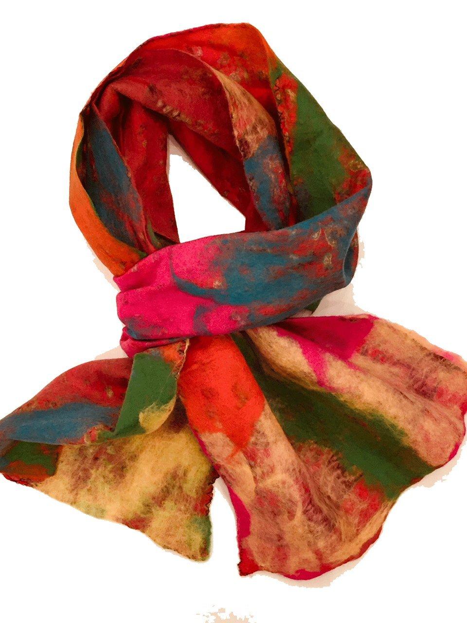 Teramasu One of a Kind Handmade Silk Merino Wool Multicolored Artist Scarf Style 10