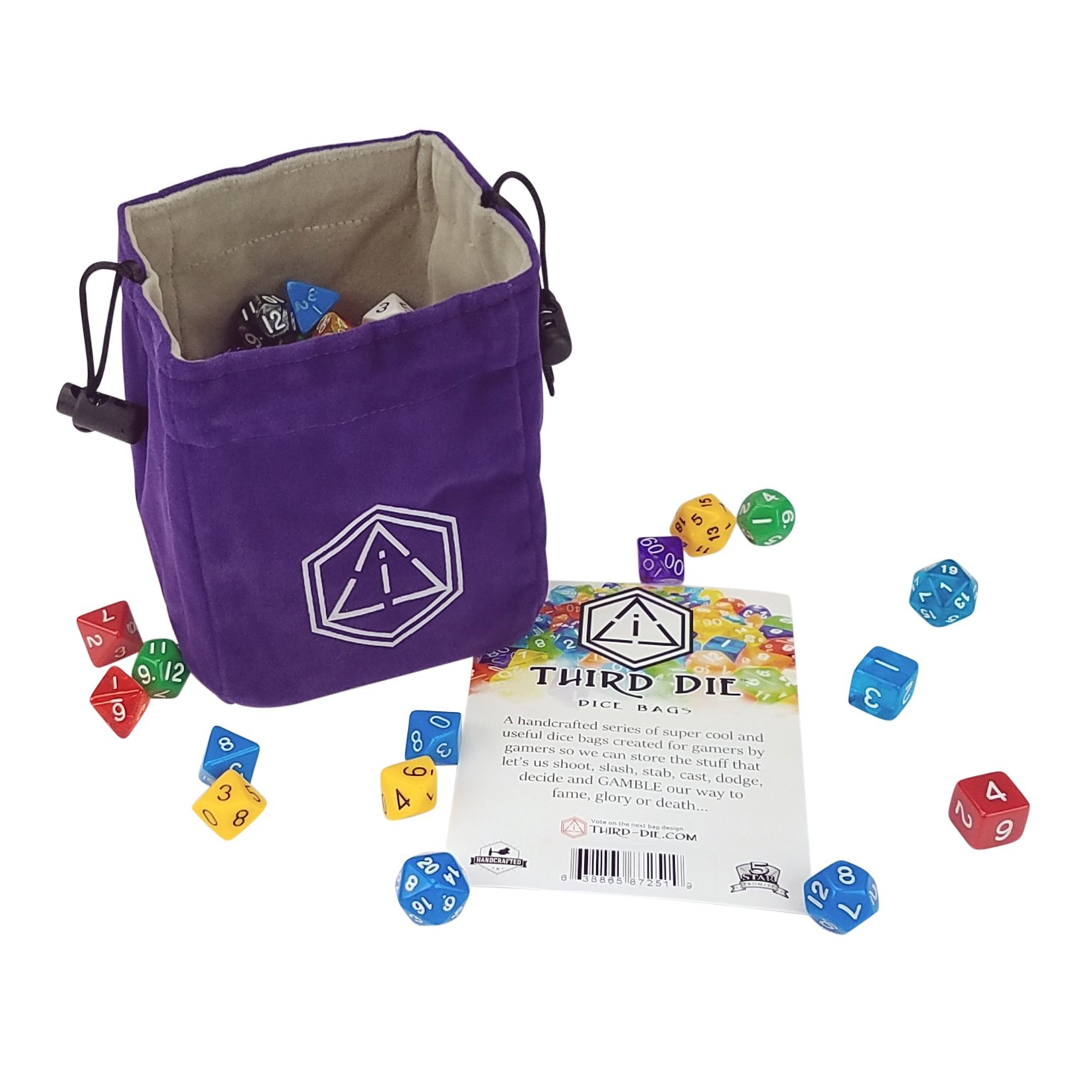 Third Die Dice Bag - Handcrafted And Reversible Drawstring Bag That Stands Open On The Table - For All Your Gaming Needs - Purple and Light Gray