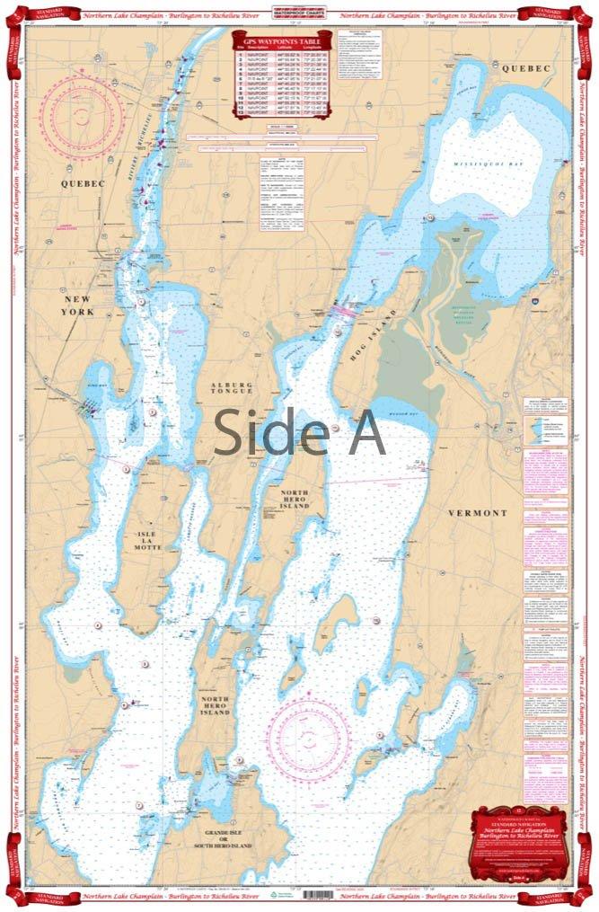 Waterproof Charts, Standard Navigation, 12 Northern Lake Champlain - Burlington to Richelieu River