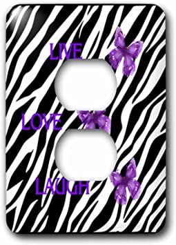 3drose Lsp 55256 6 Zebra Print With 3 Purple Butterflies Outlet Cover Outlet Plates Amazon Com