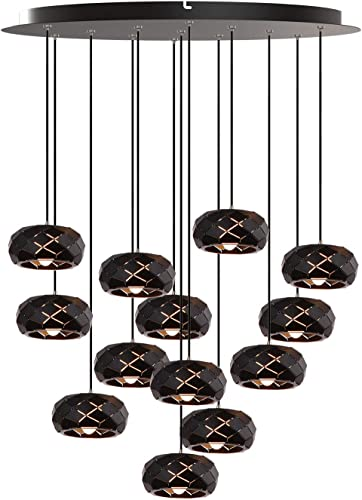 Crust 13 Mini Pendant Lighting Black – LED Hanging Light Fixture for Kitchen Island, Bar, Foyer – Cluster Pendants – Dimmable, Adjustable Wire, Lamp Bulb Included