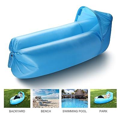 isYoung Sofa Gonflable avec Banne Extérieur 240cm*70cm Super grand & Super léger air sofa pour Camping, parc, plage, jardin