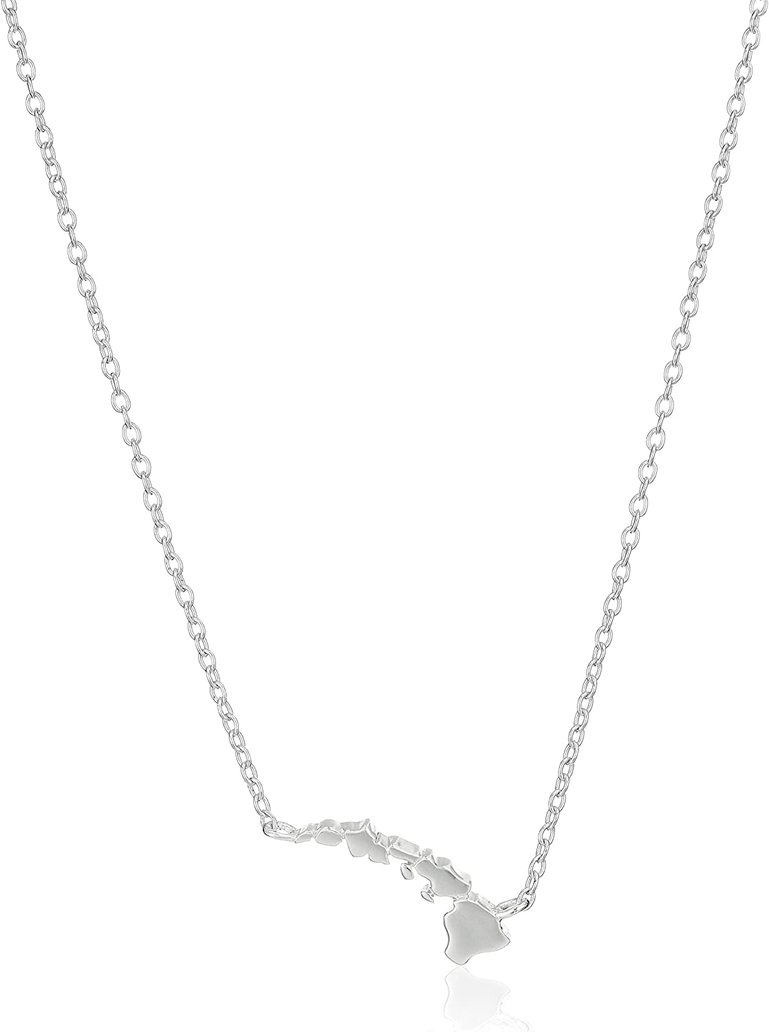 """Sterling Silver Stationed Mini State Pendant Necklace, 16""""+2"""" Extender"""