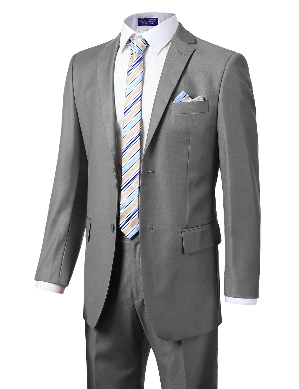 MONDAYSUIT Men's Modern Fit 2-Piece Suit Blazer Jacket Trousers Set Gray 50L