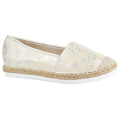 6b03114b223a80 Stiefelparadies Damen Espadrilles Bast Slipper Glitzer Sommer Schuhe 155370  Gold Brito 36 Flandell