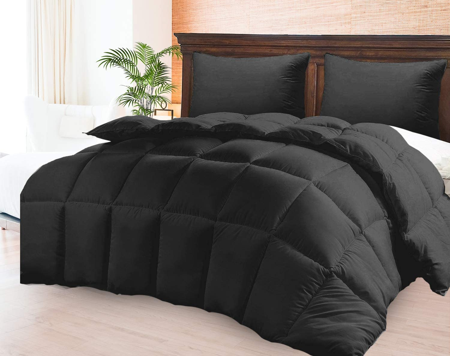 98 x 120 Premium Quality Luxurious All Season Light-Weight Black Comforter Duvet Insert 800 TC 750 GSM Fill Power 100/% Pima Cotton Hypo-allergenic with 2 Pillow Cases Oversize King