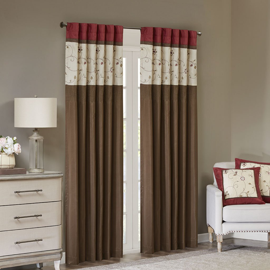 Madison Park Serene Blackout Embroidered Room-Darkening Window Treatment Curtains 1 Panel with Rod Pocket/Back Tab Drapes for Bedroom and Dorm, 50x84, Red