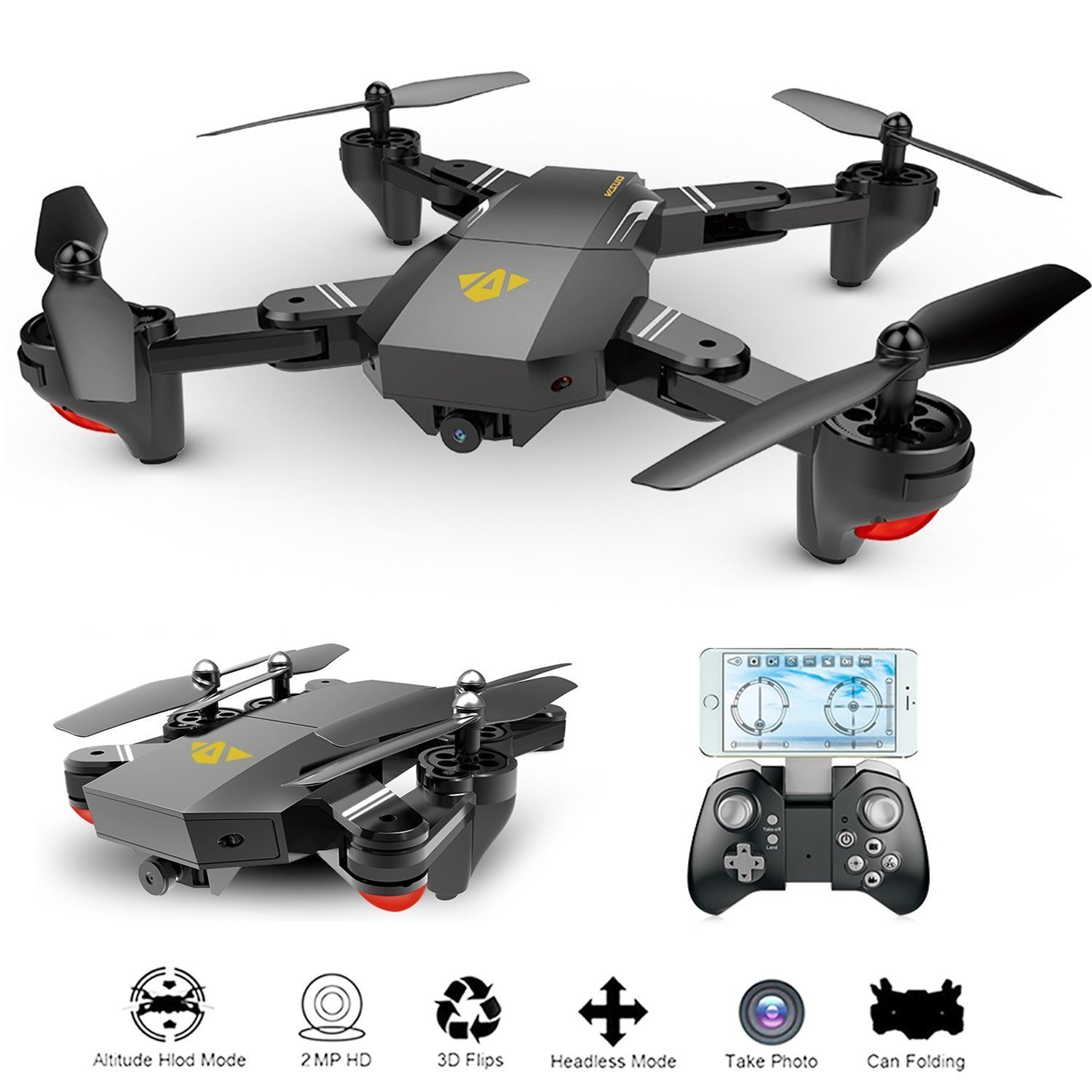 DJI Mavic Alike Advance HD Camera Drone 2.0MP Wifi FPV Quadcopter with 720P 120° Wide Angle Camera Foldable Altitude Hold Drone Helicopter Controlled with Remote Controller | Smartphone