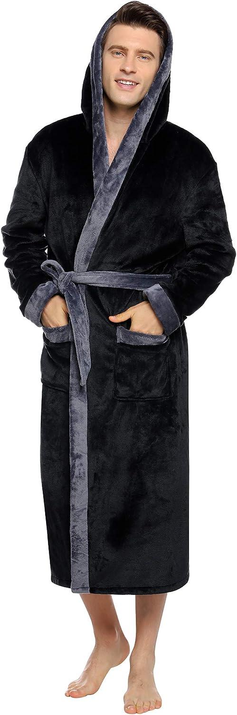 Aibrou Men's Hooded Robe Plush Long Bathrobes Soft Fleece Spa Robe Warm Sleepwear