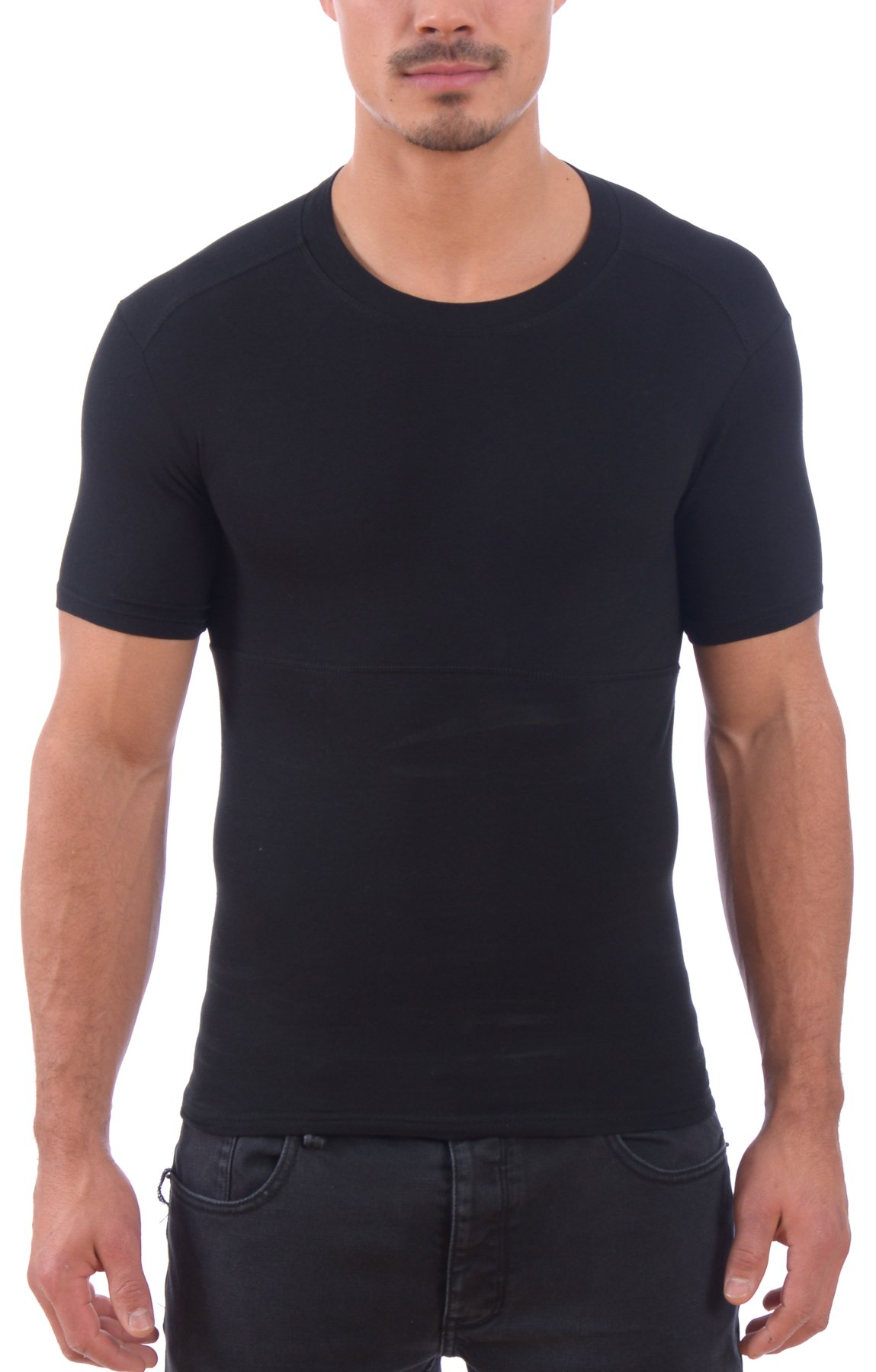 Powerbody Men's Instaslim Shapewear Compression Sculpting Crew Neck T-Shirts (Black, 3X)