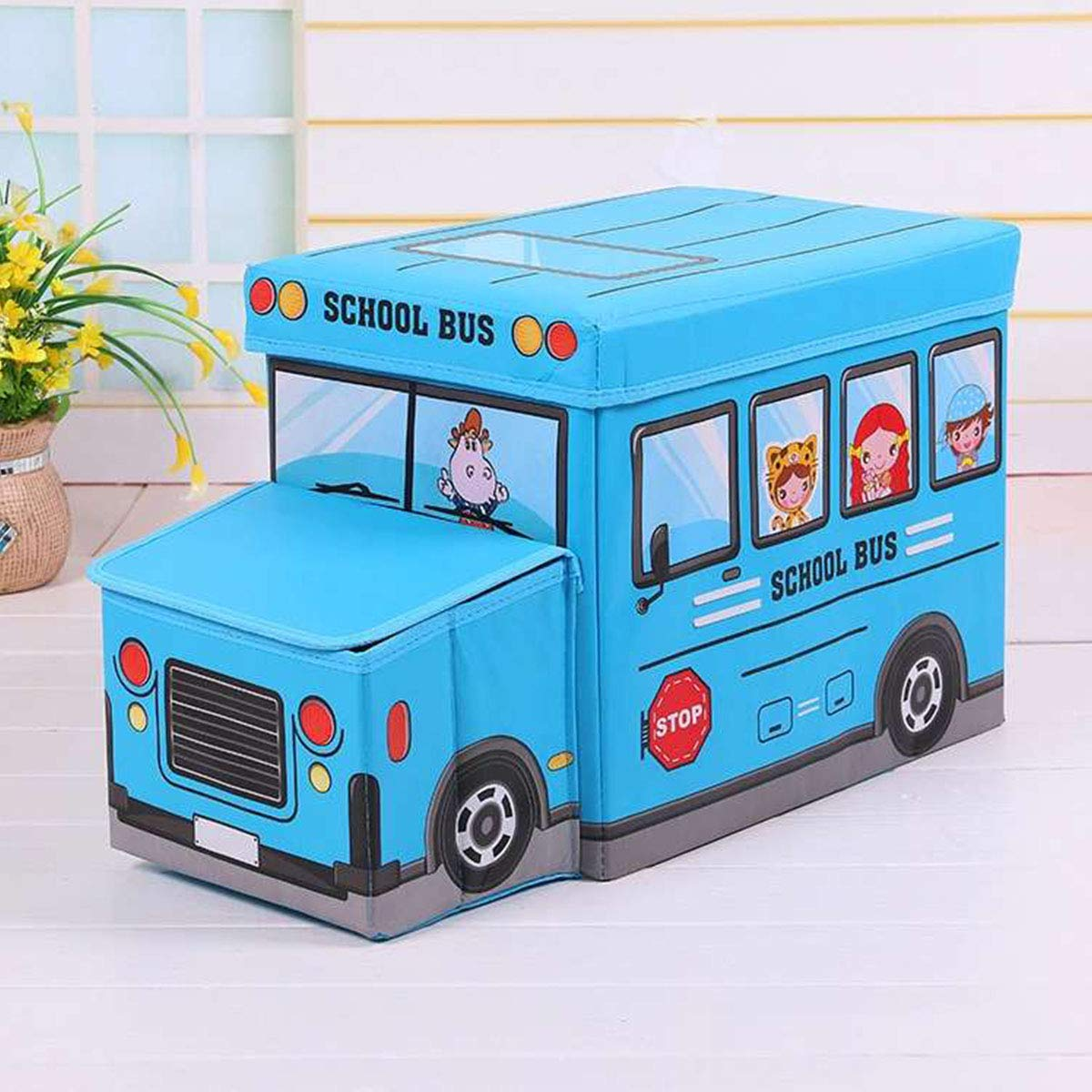LINGYAN Foldable Custom, Non-Woven car, Creative Cartoon Children's Toy Storage Stool, Can sit People Large Storage Box,Clothes Collection Box, Book Organizer (Blue) by LINGYAN