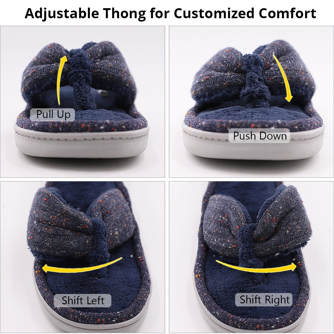 Women's Soft & Comfy Knitted Plush Fleece Lining Memory Foam Spa Thong Flip Flops House Slippers (Large/9-10 B(M) US, Navy Blue) by HomeTop (Image #6)