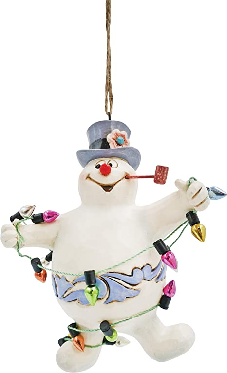 Amazon Com Enesco Jim Shore Frosty The Snowman Tangled In Lights Hanging Ornament 4 1 Inch Multicolor Home Kitchen