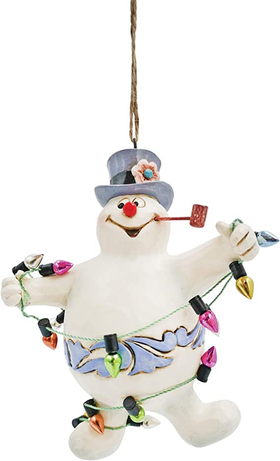 Enesco Jim Shore Frosty The Snowman Tangled In Lights Hanging Ornament 4 1 Inch Multicolor Home Kitchen