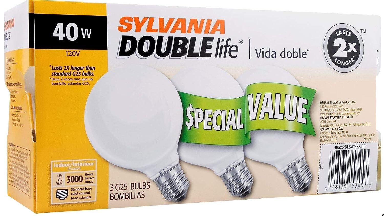 SYLVANIA Home Lighting 15345 Incandescent Bulb, G25-40W, Soft White Finish, Medium Base, Pack of 3 - - Amazon.com