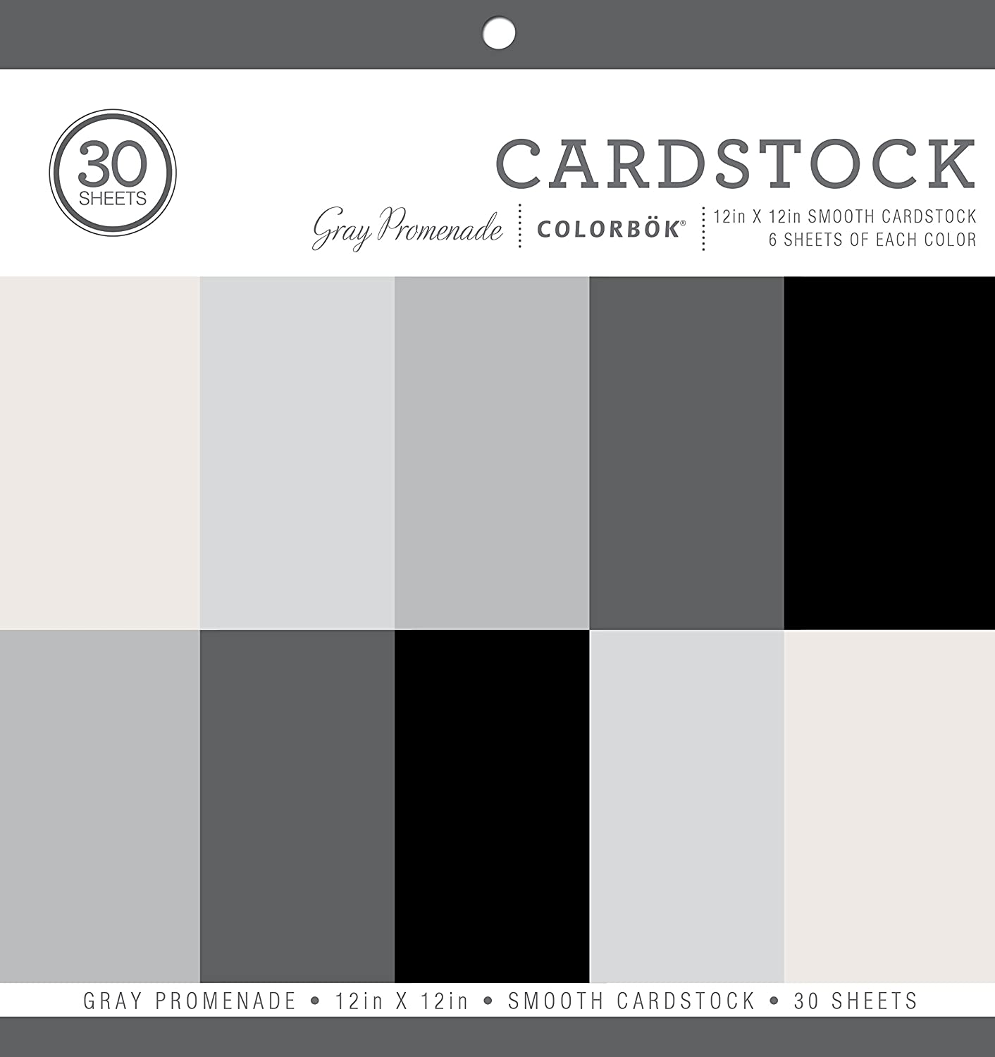Colorbok 71880A Smooth Cardstock Paper Pad, Gray Promenage, 12