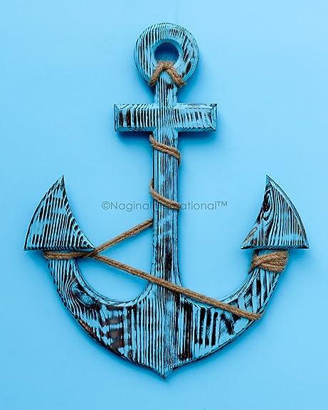 Nagina International 36″ Antique Dark Blue Premium Pine Nautical Antique Colored Sailor's Decor Anchor