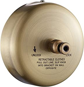 JOOM Retractable Clothesline Stainless Steel Heavy Duty 9Feet(MAX) for Hanging Drying in Bathroom Laundry Hotels, Chrome Finish,Round Style (Round B, Brushed Antique Brass)