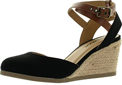 256a37326684 SODA Womens Request Closed Toe Espadrille Wedge Sandal in Black Dark Tan  Linen