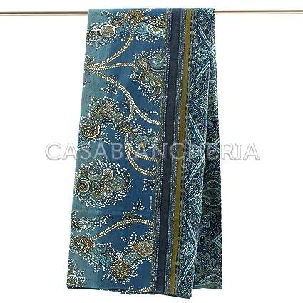 Foulard Per Divani Bassetti.Bassetti Bassetti Granfoulard Telo Arredo Bramante Var 3 Blu Puro Cotone 270x270 Cm