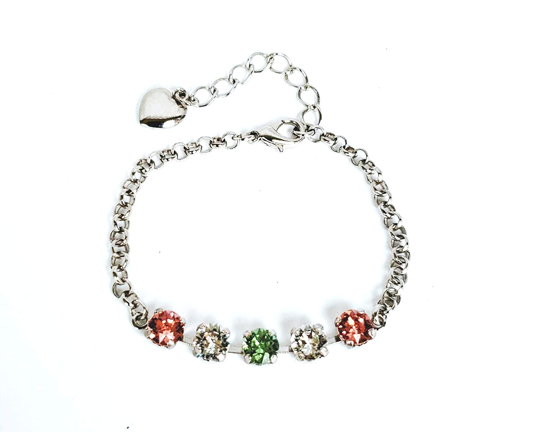 Amazon.com: Peach, Green and Clear Swarovski Crystal Bracelet with ...