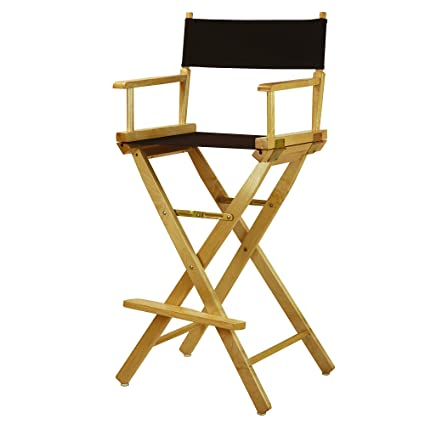 Casual Home 30u0026quot; Directoru0027s Chair Natural Frame With Black Canvas, Bar  Height