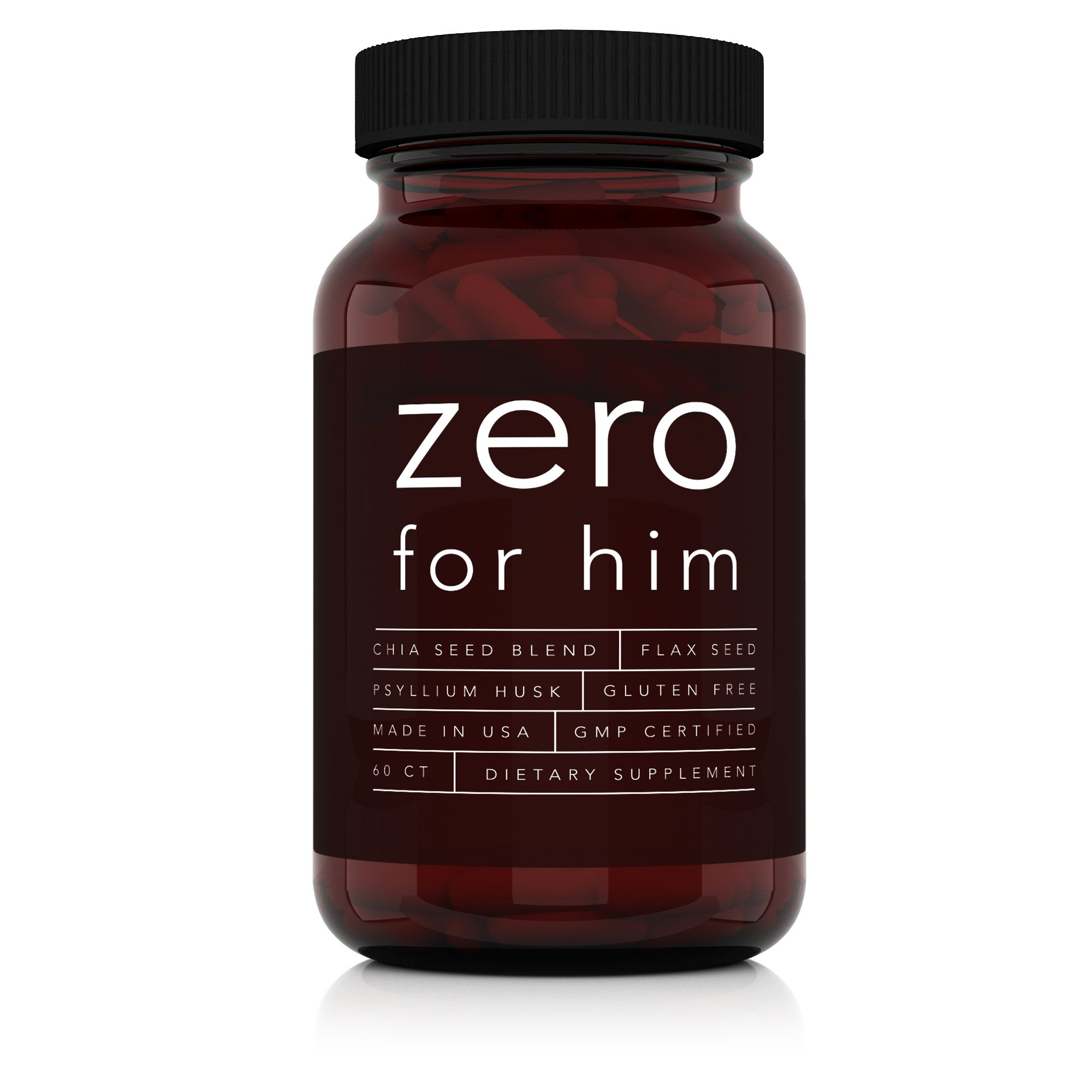 60 CT - Zero for Him Dietary Fiber Supplement for Men, Fiber Pills with Psyllium Husk, Flax Seeds, and Chia Seeds for Digestive Health, for Men Seeking Clean, Fun, and Pure Night Time Play