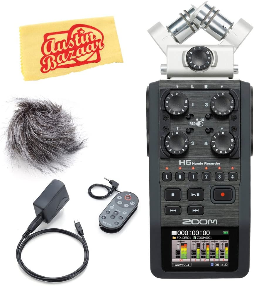 Zoom H2n Handy Recorder Bundle with Headphones Zoom WSU-1 Windscreen and Austin Bazaar Polishing Cloth AA Batteries SD Card Aux Cable