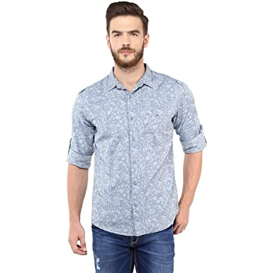 562e5b22055a51 Spykar Mens Light Blue Retro fit Mid Rise Casual Shirts (Large)  Amazon.in   Clothing   Accessories