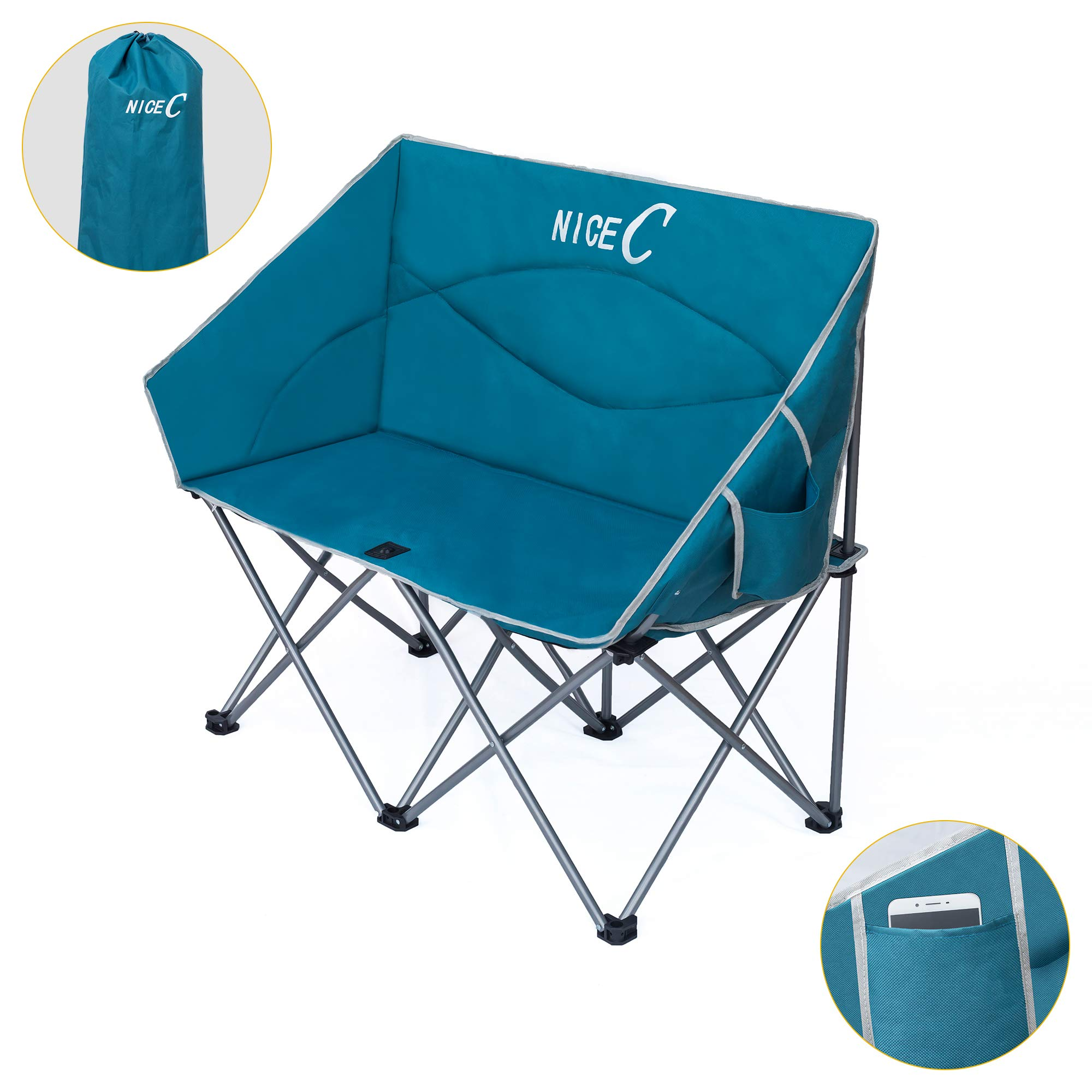 Nice C Double Camping Chair, Loveseat, Oversized Folding Camp seat with Strap Carry Bag(Blue) by Nice C