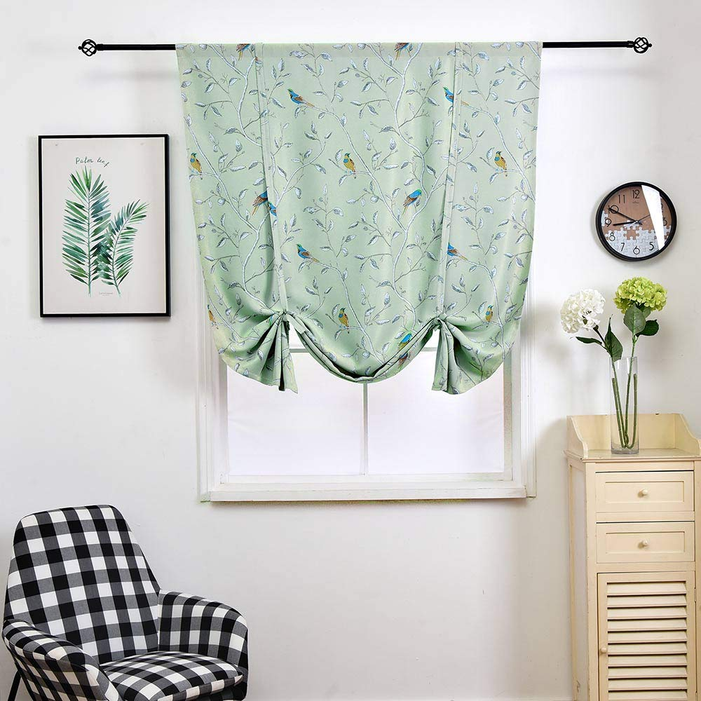 WUBODTI Thermal Insulated Blackout Curtain Panel Room Darkening Window Drapes Balloon Valance Small Window Curtain,Bird Pattern Window Treatments,32x55 Inch,Multi Color