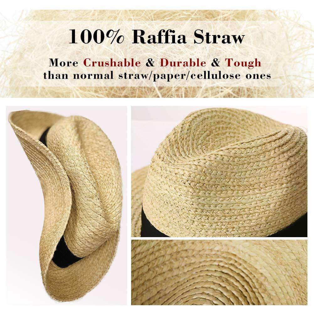 Siggi Raffia Straw Fedora Panama Style Sun Hats for Beach Safari Hat Packable /& Adjustable